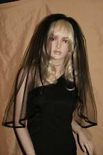 Veil On Comb Halloween Black - Bridal Lace Satin Edge Fancy Dress - NEW from UK
