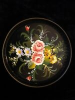 Vintage Round Toleware Hand Painted Metal Tray Floral Roses