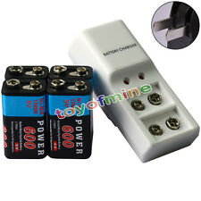 4x 9V 6F22 PPS Block 600mAh Ni-Mh Rechargeable Battery + Dual Batteries Charger