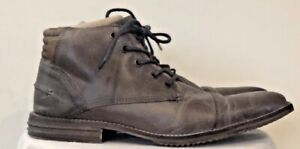 Mens Bull Boxer Diever Taupe Leather Cap Toe Chukka Lace Up And Zip Boots Sz. 9
