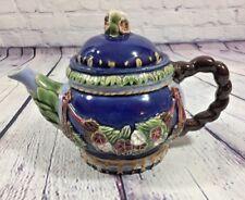 Vtg 1991 CBK Nouveau Majolica Teapot Floral Decor Rope Style Handle