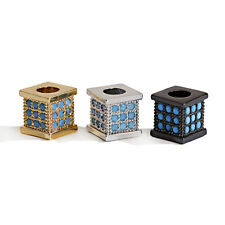Blue Micro Pave Cubic Zirconia Square Connector DIY Loose Beads Jewellery Making
