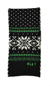 Ralph Lauren Polo Black RL 67 Cotton Cashmere Holiday Snowflake Scarf New $295