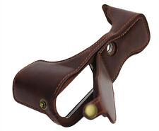 Bottom Opening Real Leather Half Camera Bag Case for Panasonic LUMIX GX85 Coffee