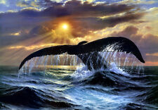Canvas Print Animals Whale Oil painting Printed on canvas 12x16 inch L317