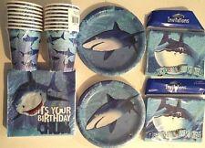 SHARK SPLASH HAPPY Birthday Party Supply Kit w/ Plates, Napkins,Cups & Invites