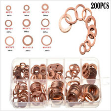 Car Truck 200Pcs Flat Ring Solid Copper Washers Engine Oil Drain Seal Gasket Set