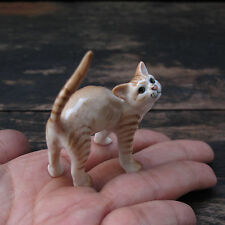Yellow-Gold Colored Cat Figurine Cats Ceramic Collection Cat Pottery Animals