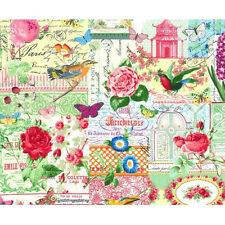 Michael Miller Managerie Collage Bird Botanical Fabric in Multi