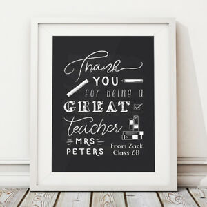 Chalkboard Style Teacher Thank You Gift Personalised Print End of School Term