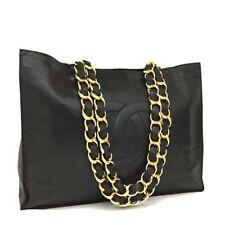 CHANEL CC Logo Lambskin Chain Large Shoulder Tote Bag Black /332