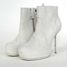RICK OWENS $1,560 bone gray suede leather spike heel platform ankle boots 41 NEW