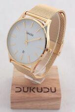 DUKUDU Bente DU-102 Uhr Armbanduhr Designuhr Ø ca.40 mm - gold / weiß perlmutt