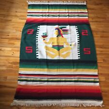 Vtg 70s Mexican Latin Aztec Folk Art Textile Woven 2 Panel Blanket Rug Colorful