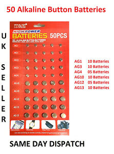 NEW 50 ASSORTED BUTTON CELL WATCH BATTERY BATTERIES AG 1 / 3 / 4 / 10 / 12 / 13*