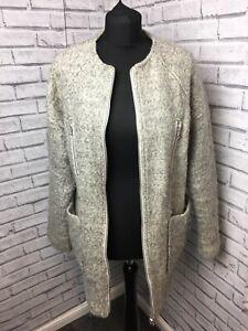 Warehouse Light Grey Woolly Coat Size 14 With Zip & Pockets Long Sleeve Jacket