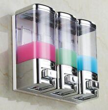 Chrome 3 Wall Mount Shower Bath Liquid Soap Shower Bathroom Shampoo Dispenser