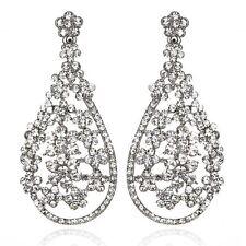 Blooms Silver Austrian Crystal Rhinestone Chandelier Dangle Earring Wedding E109