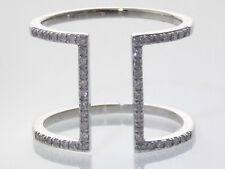 14K WHITE GOLD 1/3CTW DIAMOND DOUBLE BAR CONTEMPORARY DESIGN RING SIZE 7.5