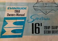 Evinrude 16' Sportsman 120 hp - 155 hp Stern Drive Boat 1968 Owners Manual