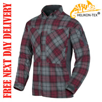 HELIKON TEX MBDU FLANNEL SHIRT RUBY PLAID CHECKED POLYESTER TOP LONG SLEEVE MENS