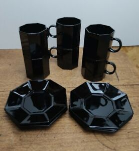 Vintage Arcoroc Octime Coffee Cups and Saucers x6 Gloss Black France Octagon