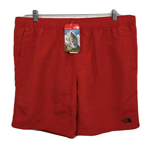 The North Face Mens Size XL Swim Trunks Pompeian Red Pull On Drawstring Pockets