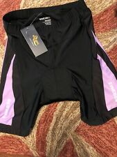 NOOYME Womens Bike Shorts for Cycling with 3D Padded. Large. Purple Stripe