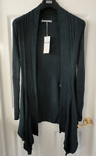M&S Cotton Blend Open Front Ribbed Oblong Cardigan, SZ 16, Forest Green, BNWT