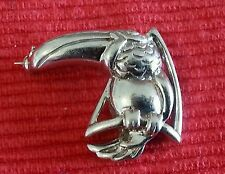 solid silver toucan bird brooch, stamped 925,