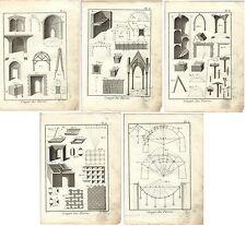 Stampa antica PIETRA DA TAGLIO LOTTO di 5 Enciclopedia Diderot 1790 Old print