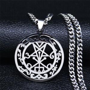 Angels & Demons Sigil Inverted Pentagram Stainless Steel Gothic Pendant Necklace