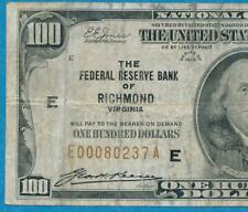 $100. 1929 RICHMOND  BROWN SEAL FEDERAL RESERVE BANK NOTE