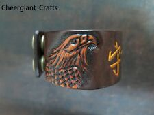 Hand carved Eagle leather wristband Blessing bracelet Cheergiant Crafts老鷹幸運平安手環