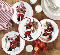 POTTERY BARN ~ Santa Claus Salad or Dessert Plates Christmas COOKIES for Santa