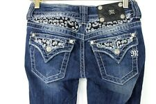 Miss Me JP5002 Boot Cut Jeans Dovetail Flap Pockets Bling Rocker 25 sz 26x30.5
