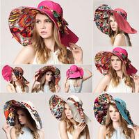 Soft Cotton Wide Brim Derby Cap Beach Folding Sun Summer Floppy Lady Straw Hat*
