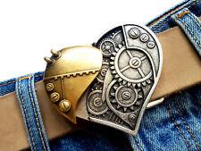 Steampunk Cintura Fibbia Fibbia di cambio Cuore Future Argento Ottone Buckle 4cm