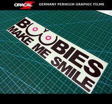 BOOBIES MAKE ME SMILE Funny Bumper JDM VINYL decal sticker