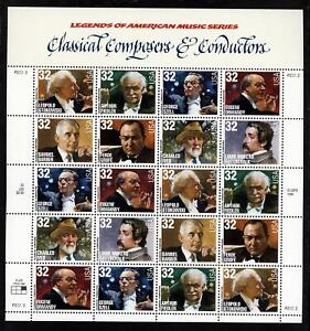 SCOTT 3158-65 1997 32 CENT CLASSICAL COMPOSERS ISSUE MINT SHEET NH VF CAT $32!