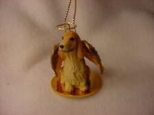 English Cocker Blonde dog Angel Ornament Resin Hand Painted Figurine Christmas