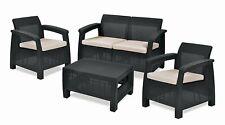 Keter Corfu Outdoor 4 Seater Furniture Set, Accent Table - Graphite, Cream cush