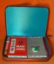 Vintage Mah Jong Jjong Game Brown Leatherette Zip Case 100% Complete / Unused