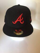 NEW Era autentico MLB Atlanta Braves montato Berretto Da Baseball 7 1/2 60cm Nero Rosso una