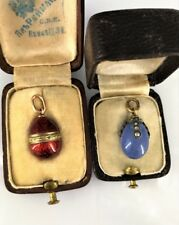 FABERGE Antique Russian Enamel Gold and Chalcedony Diamonds Egg pendant, c.1898