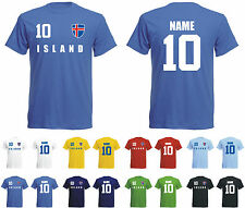 Island WM 2018 T-Shirt Trikot Look Fußball + inkl.Druck  Name und Nr
