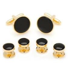 Gold Onyx Tuxedo Cufflinks and Stud Set Ox and Bull