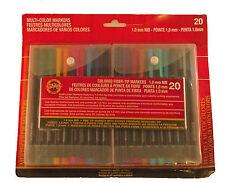 Koh I Noor Multi Color Fiber Tip Markers 1.0 mm NIB 20 New!