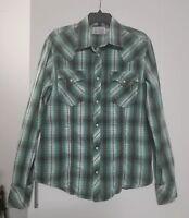 True Religion Long Sleeve Pearl Snap Green Plaid Western Shirt Size XL