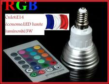 AMPOULE  LED COULEURS CHANGEANTES  +  TELECOMMANDE E14  3W ECLAIRAGE DECORATION